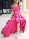 A-line Off-the-shoulder Lace Satin Sweep Train Beading Prom Dresses #Favs020106439
