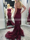 Trumpet/Mermaid Strapless Lace Sweep Train Prom Dresses #Favs020106440