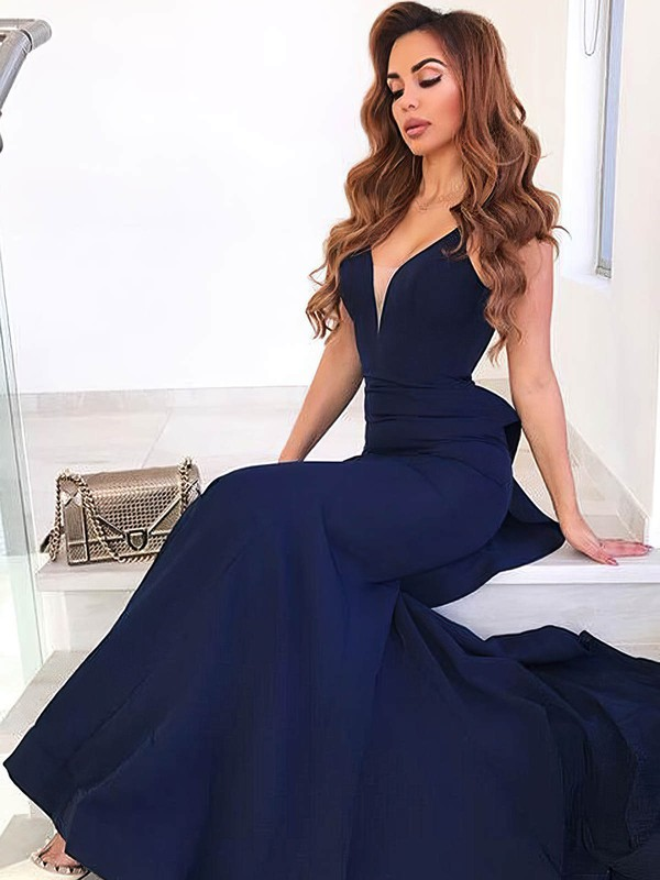 0b9ca2946f22 Trumpet/Mermaid V-neck Silk-like Satin Sweep Train Ruffles Prom Dresses #