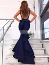 Trumpet/Mermaid V-neck Silk-like Satin Sweep Train Ruffles Prom Dresses #Favs020106442