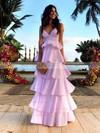 A-line V-neck Satin Floor-length Tiered Prom Dresses #Favs020106445