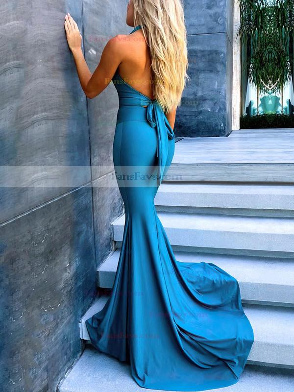 Trumpet/Mermaid Halter Jersey Sweep Train Ruffles Prom Dresses #Favs020106451