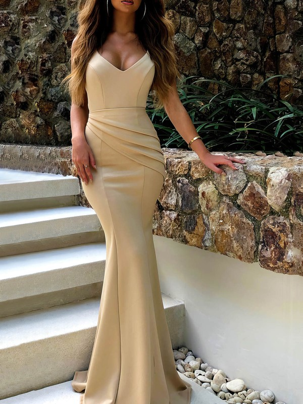 Trumpet/Mermaid V-neck Satin Floor-length Ruffles Prom Dresses #Favs020106453