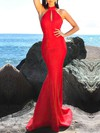 Trumpet/Mermaid High Neck Satin Floor-length Prom Dresses #Favs020106455