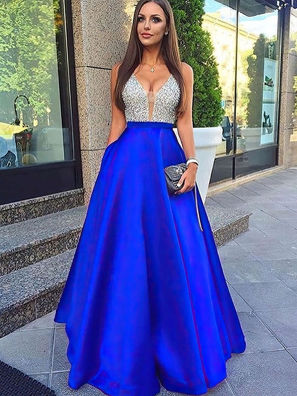 f202f2edb1ce A-line V-neck Floor-length Satin Prom Dresses with Beading #Favs020102600
