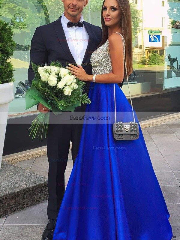 Princess V-neck Satin Floor-length Beading Prom Dresses #Favs020102600