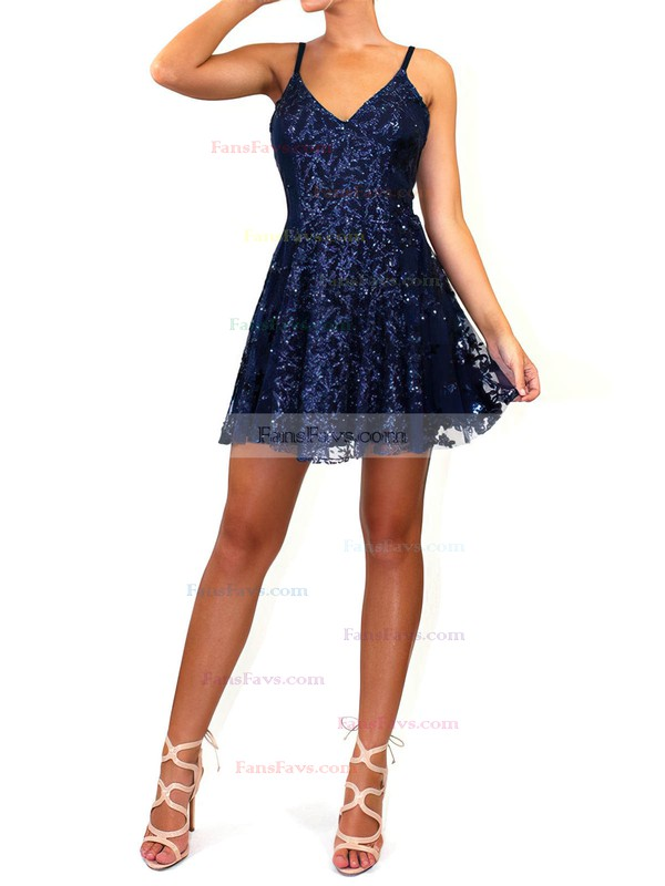A-line V-neck Tulle Short/Mini Sequins Prom Dresses #Favs020106459