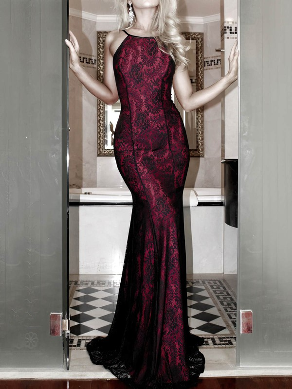 Sheath/Column Scoop Neck Lace Floor-length Prom Dresses #Favs020106460