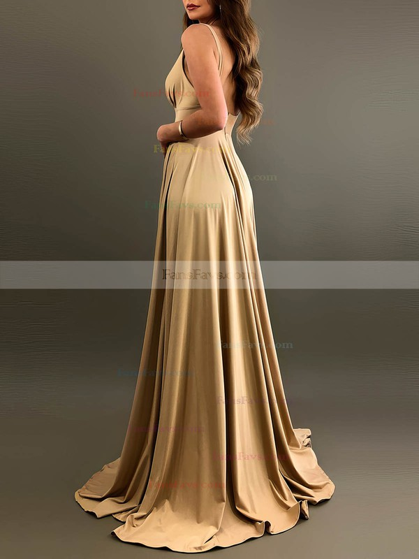 A-line V-neck Silk-like Satin Sweep Train Split Front Prom Dresses #Favs020106461