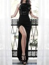 Sheath/Column Scoop Neck Lace Jersey Sweep Train Split Front Prom Dresses #Favs020106462