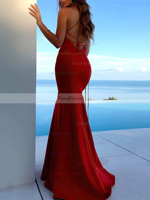 Trumpet/Mermaid Scoop Neck Silk-like Satin Sweep Train Split Front Prom Dresses #Favs020106465