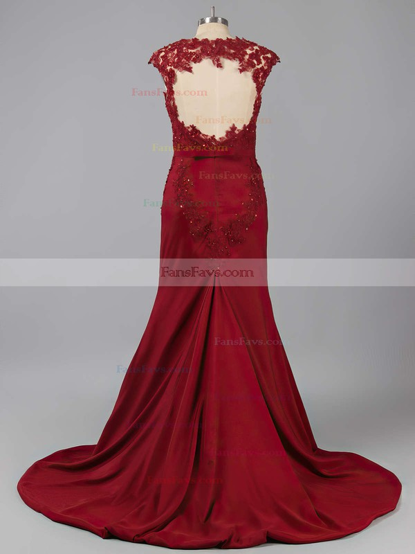 Trumpet/Mermaid Scoop Neck Sweep Train Silk-like Satin Prom Dresses with Appliques Lace #Favs020102169