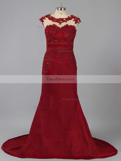 Trumpet/Mermaid Scoop Neck Silk-like Satin Sweep Train Appliques Lace Prom Dresses #Favs020102169