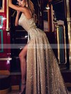 A-line Cowl Neck Sequined Sweep Train Split Front Prom Dresses #Favs020106500