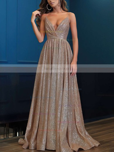 Princess V-neck Shimmer Crepe Floor-length Prom Dresses #Favs020106501