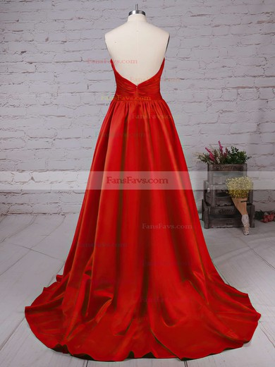 A-line V-neck Satin Sweep Train Ruffles Prom Dresses #Favs020102672