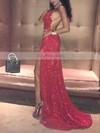 Sheath/Column Cowl Neck Sequined Sweep Train Split Front Prom Dresses #Favs020106509