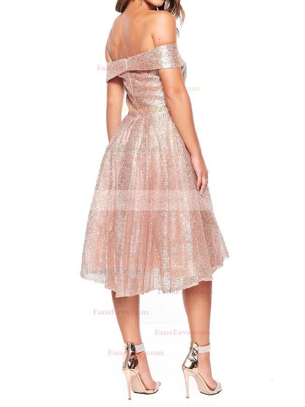 A-line Off-the-shoulder Glitter Tea-length Prom Dresses #Favs020106510