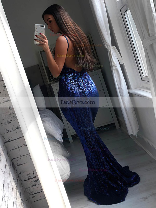 Trumpet/Mermaid V-neck Sequined Sweep Train Prom Dresses #Favs020106514