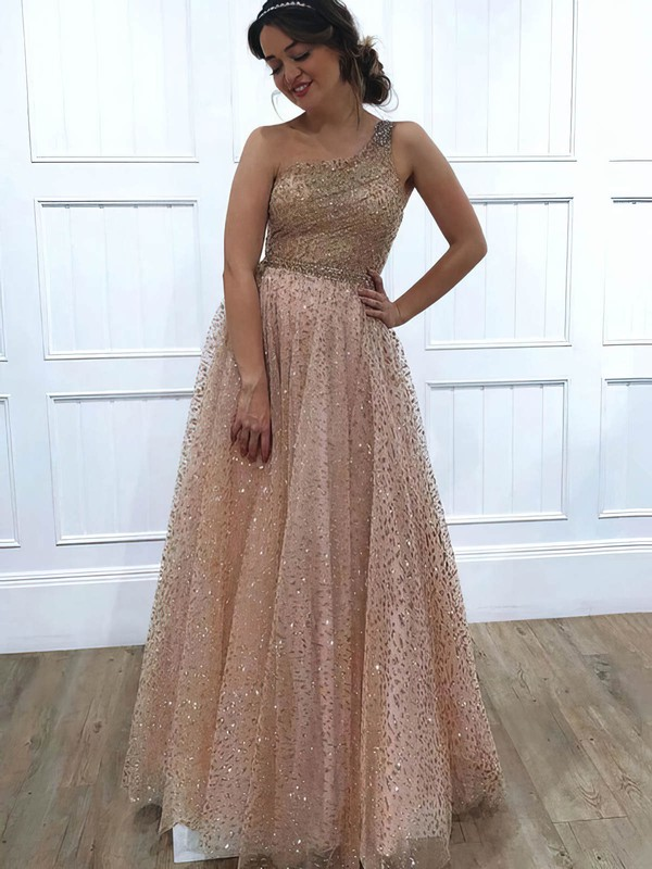 A-line One Shoulder Glitter Floor-length Beading Prom Dresses #Favs020106516