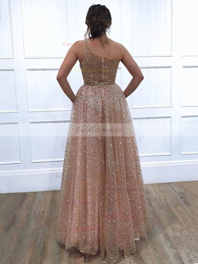 A-line One Shoulder Glitter Floor-length Beading Prom Dresses #Favs020106516