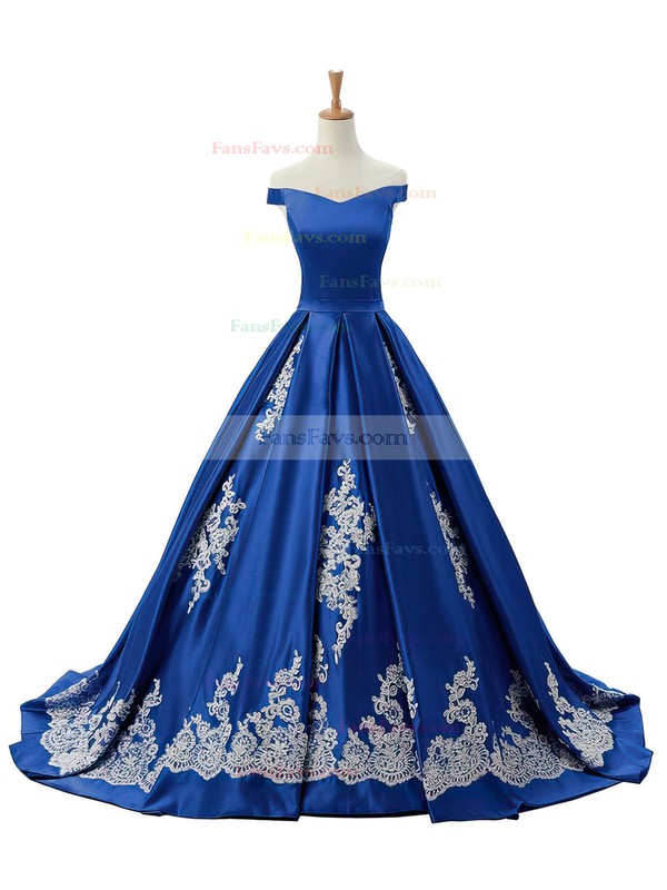 Princess Off-the-shoulder Sweep Train Satin Prom Dresses with Appliques Lace #Favs020102721