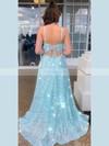 A-line Square Neckline Sequined Floor-length Split Front Prom Dresses #Favs020106518