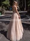 Princess V-neck Tulle Glitter Floor-length Beading Prom Dresses #Favs020106519