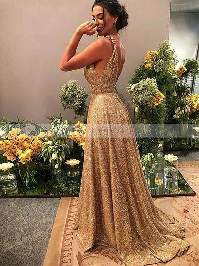 A-line V-neck Shimmer Crepe Sweep Train Beading Prom Dresses #Favs020106526