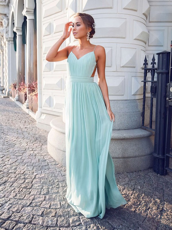 A-line V-neck Floor-length Chiffon Prom Dresses with Ruffle #Favs020102734