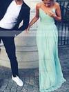 A-line V-neck Chiffon Floor-length Ruffles Prom Dresses #Favs020102734