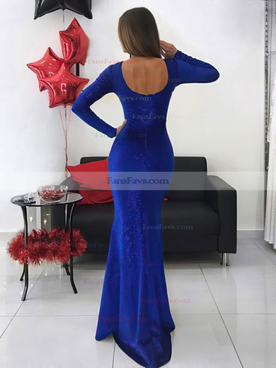 Trumpet/Mermaid Scoop Neck Sequined Floor-length Prom Dresses #Favs020106527