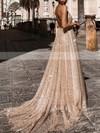 A-line V-neck Glitter Sweep Train Prom Dresses #Favs020106528