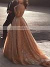 Princess V-neck Glitter Sweep Train Prom Dresses #Favs020106532