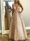 Princess V-neck Glitter Floor-length Beading Prom Dresses #Favs020106533