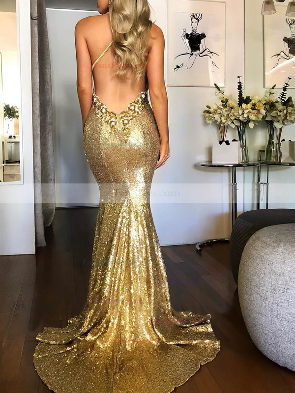 Trumpet/Mermaid Halter Sequined Sweep Train Beading Prom Dresses #Favs020106535