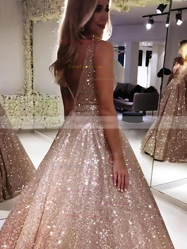 Ball Gown V-neck Glitter Sweep Train Prom Dresses #Favs020106536