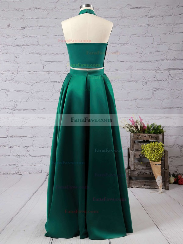 A-line Halter Floor-length Satin Prom Dresses with Ruffle #Favs020102737