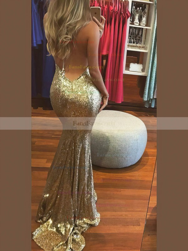 Trumpet/Mermaid Halter Sequined Sweep Train Prom Dresses #Favs020106537