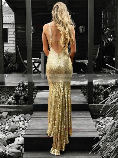 Trumpet/Mermaid V-neck Sequined Floor-length Appliques Lace Prom Dresses #Favs020106539