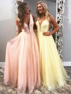 Princess V-neck Glitter Floor-length Beading Prom Dresses #Favs020106542