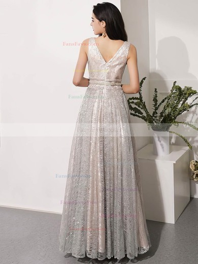 A-line V-neck Glitter Floor-length Beading Prom Dresses #Favs020106543