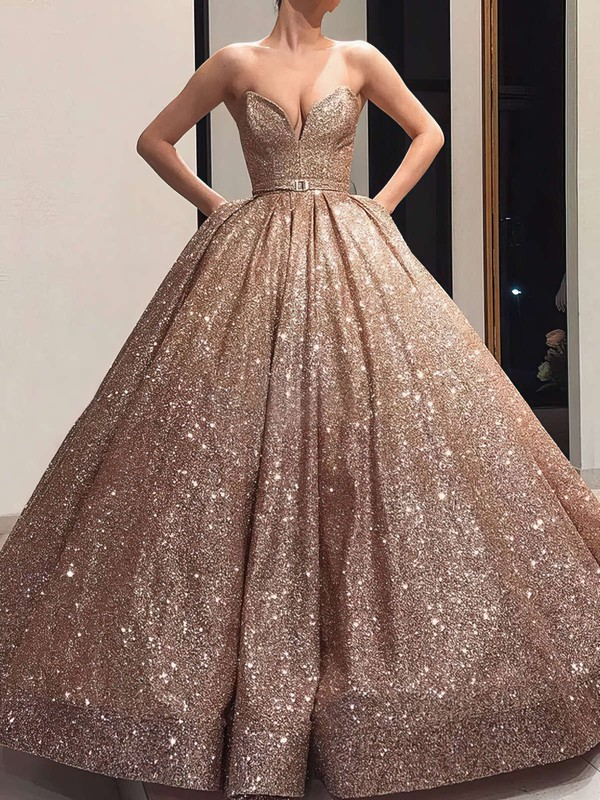 Ball Gown V-neck Shimmer Crepe Floor-length Sashes / Ribbons Prom Dresses #Favs020106547