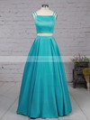 A-line Square Neckline Sweep Train Satin Prom Dresses #Favs020102754
