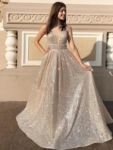 Princess V-neck Sequined Floor-length Prom Dresses #Favs020106548