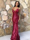 Trumpet/Mermaid V-neck Sequined Floor-length Prom Dresses #Favs020106549