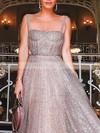 A-line Square Neckline Glitter Floor-length Prom Dresses #Favs020106553