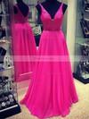 A-line V-neck Sweep Train Chiffon Prom Dresses with Beading #Favs020102765