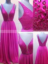 A-line V-neck Chiffon Sweep Train Beading Prom Dresses #Favs020102765
