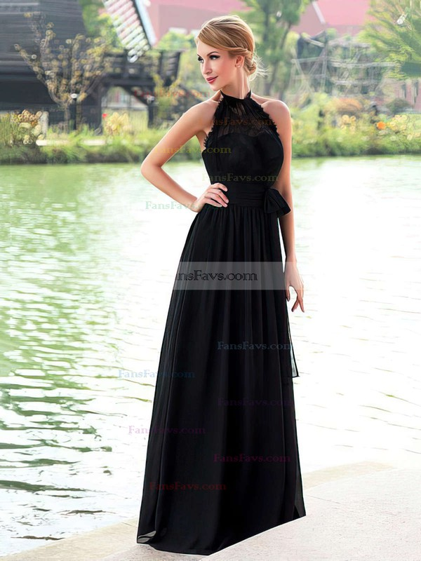 A-line Halter Chiffon Floor-length Lace Prom Dresses #Favs020102836